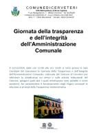 Giornata della trasparenza e dell'integrità dell'Amministrazione Comunale