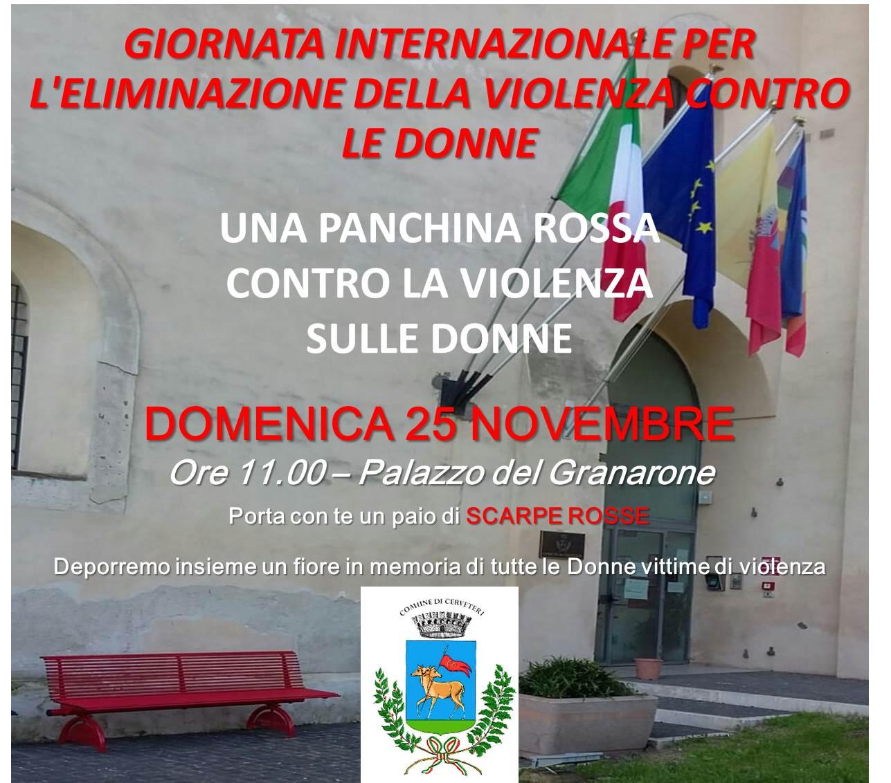 Giornata internazionale per l'eliminazione della violenza contro le donne: al Granarone inaugurazione della Panchina Rossa