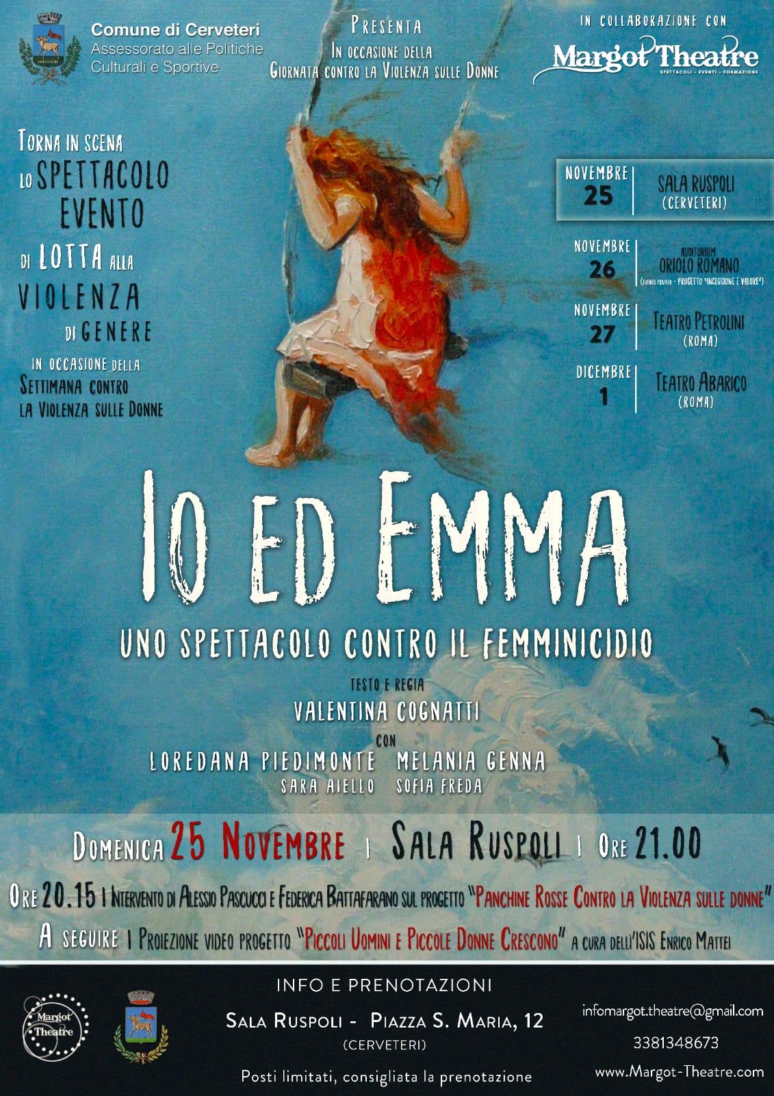 """Giornata Internazionale per l'eliminazione della Violenza contro le Donne: a Sala Ruspoli lo spettacolo """"Io ed Emma"""""""