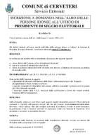 ISCRIZIONE A DOMANDA NELL'ALBO DELLE PERSONE IDONEE ALL'UFFICIO DI PRESIDENTE DI SEGGIO ELETTORALE