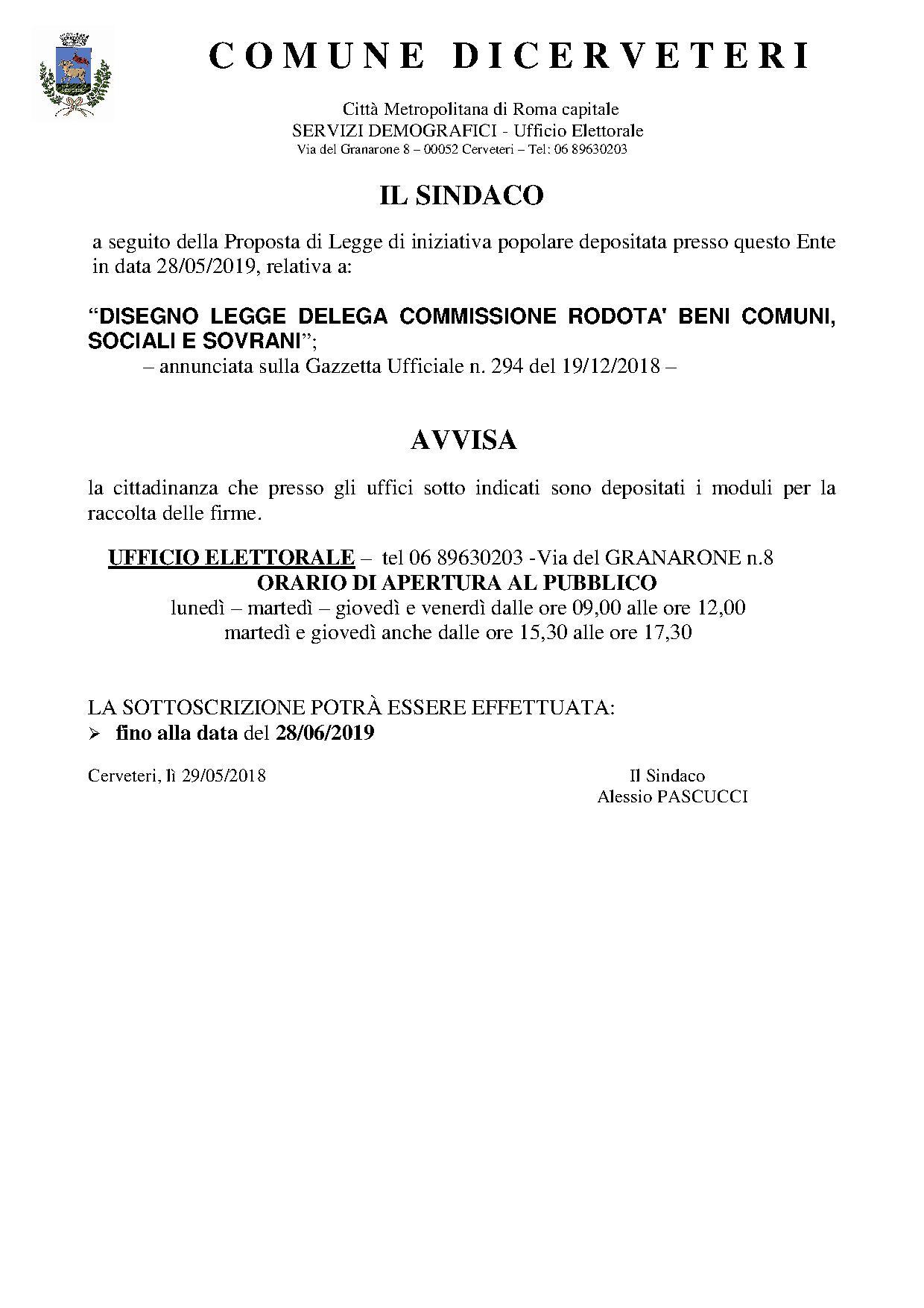 Legge di iniziativa popolare promossa dal comitato Rodotà