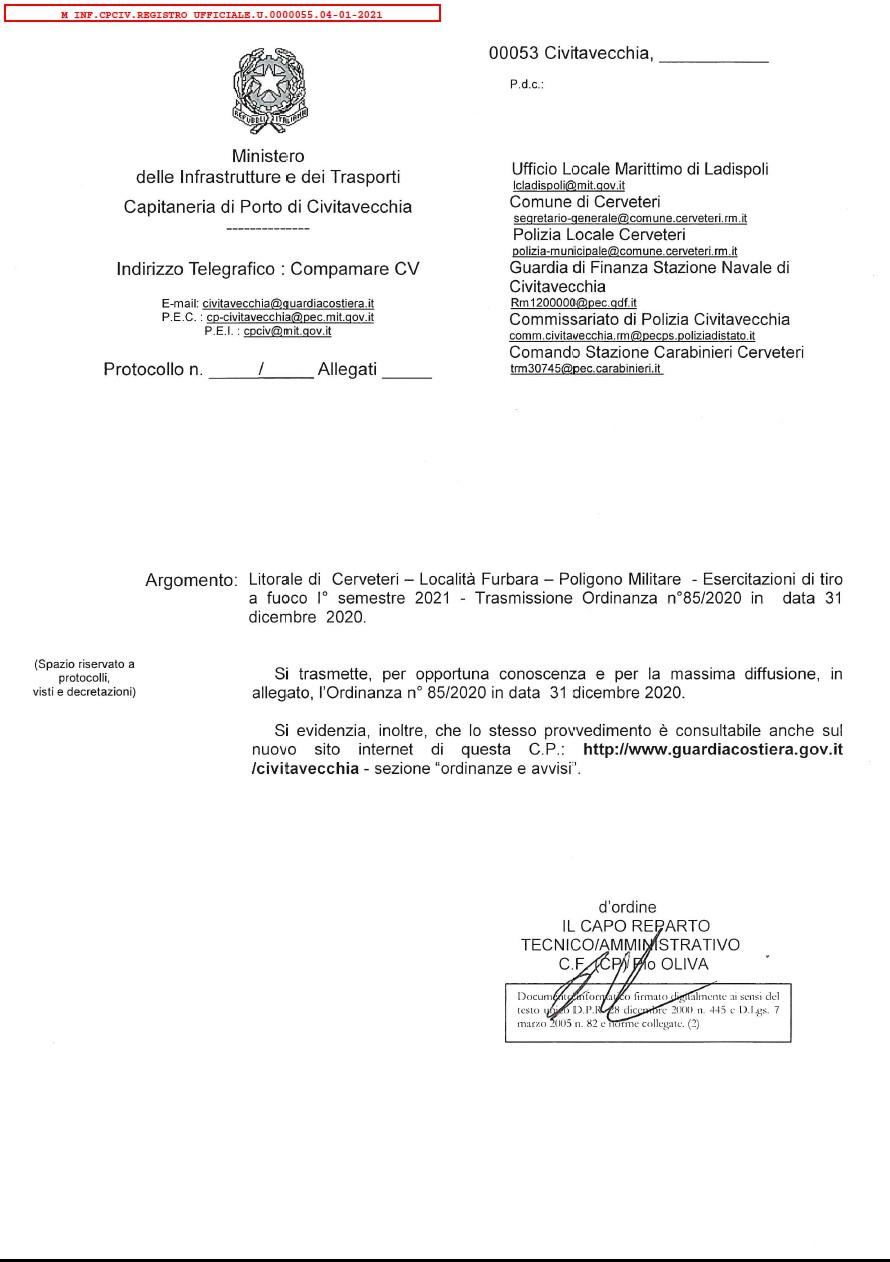 Litorale di Cerveteri - località Furbara - Poligono di tiro esercitazioni primo semestre 2021