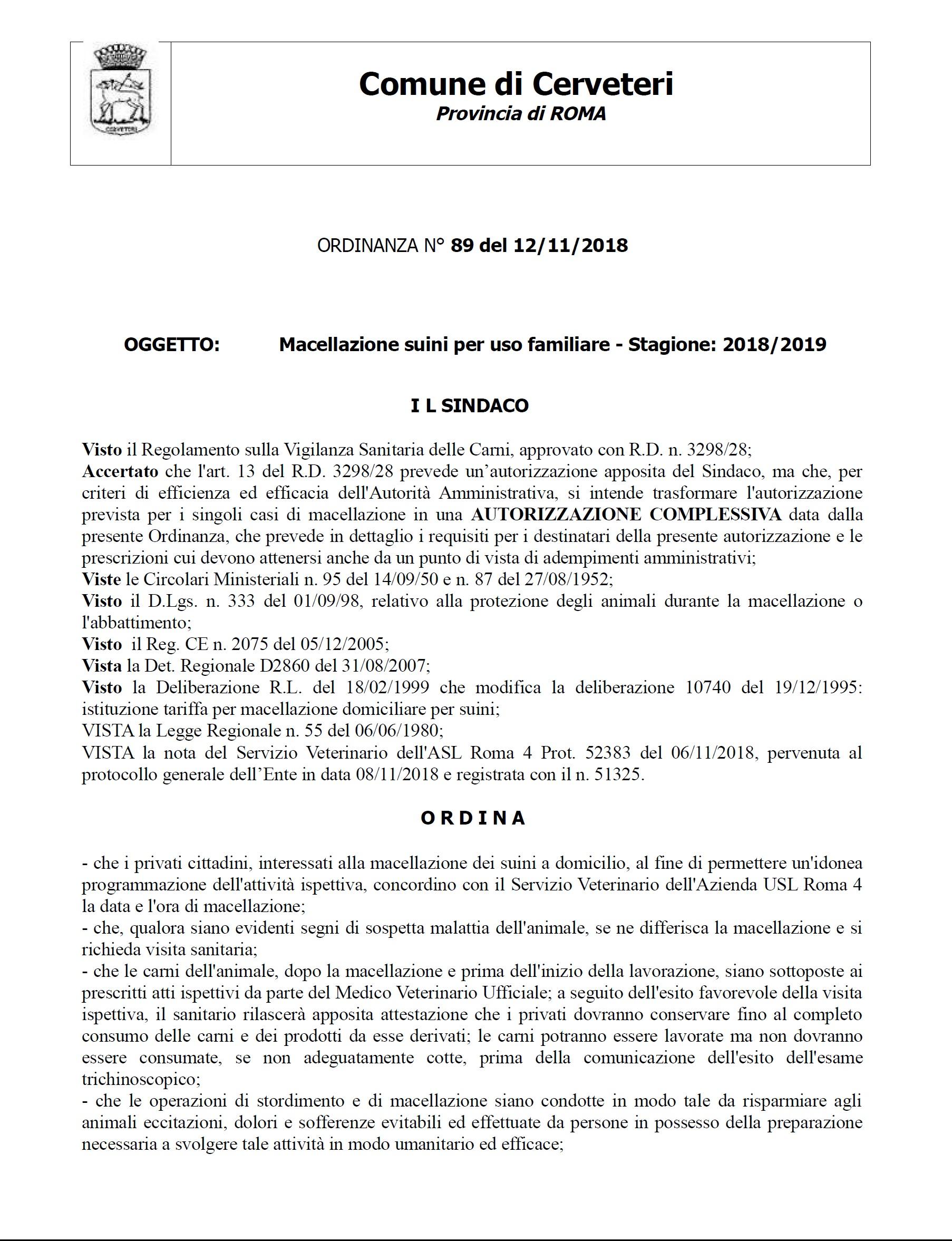 Macellazione suini per uso familiare: stagione 2018/2019