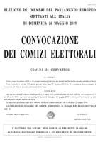 Manifesto convocazione  dei comizi elettorali ELEZIONI EUROPEE del 26/05/2019