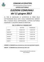 Elezioni Comunali 11/06/2017 - Orario apertura Ufficio Elettorale