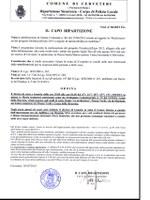 Ordinanza del Capo Ripartizione Sicurezza n. 86 del 03.07.2015