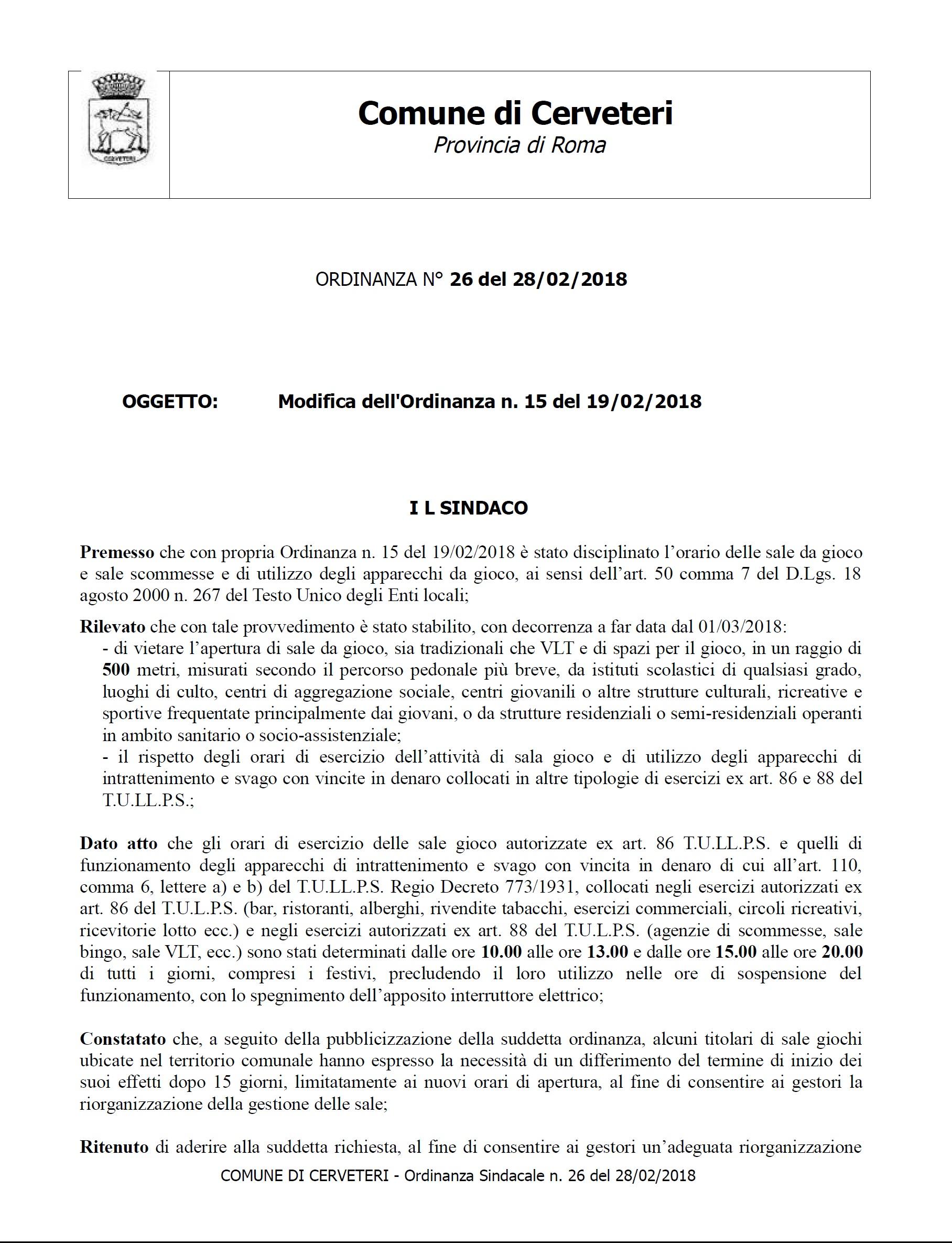 ORDINANZA DEL SINDACO n. 26 del 28/02/2018