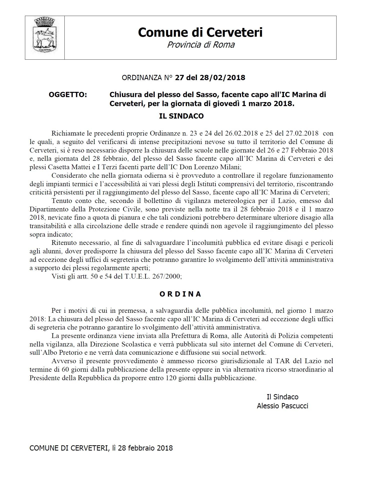 ORDINANZA DEL SINDACO n. 27 del 28/02/2018