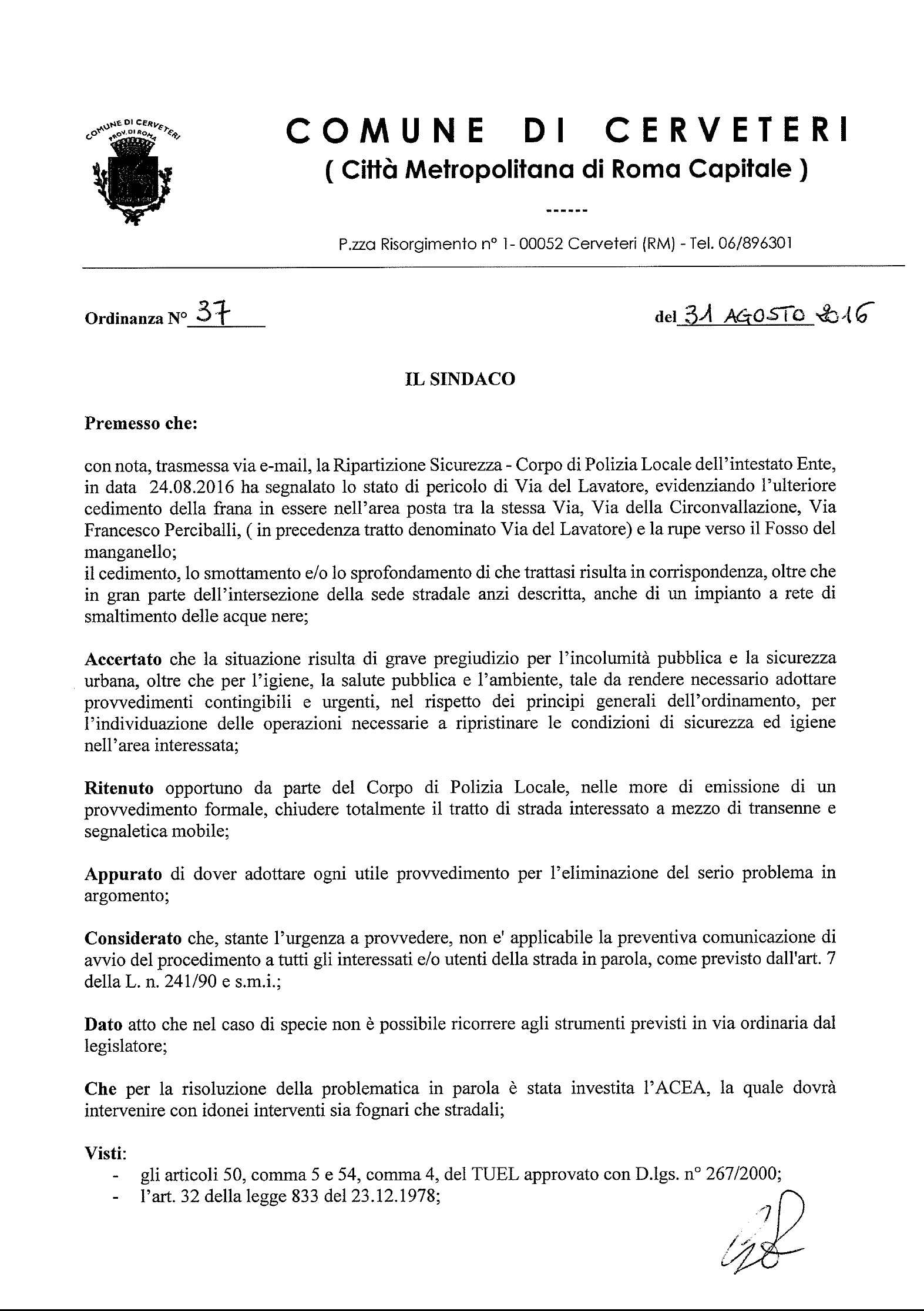 ORDINANZA DEL SINDACO n. 37 del 31.08.2016
