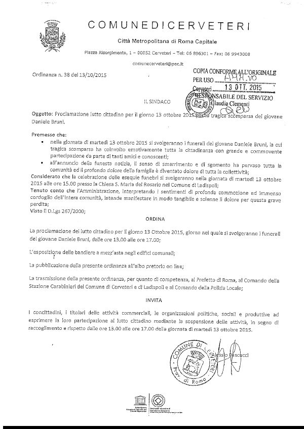 Ordinanza n. 38 del 13/10/2015 - lutto cittadino