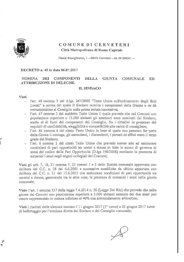 Ordinanza Sindacale n. 40 del 06/07/2017