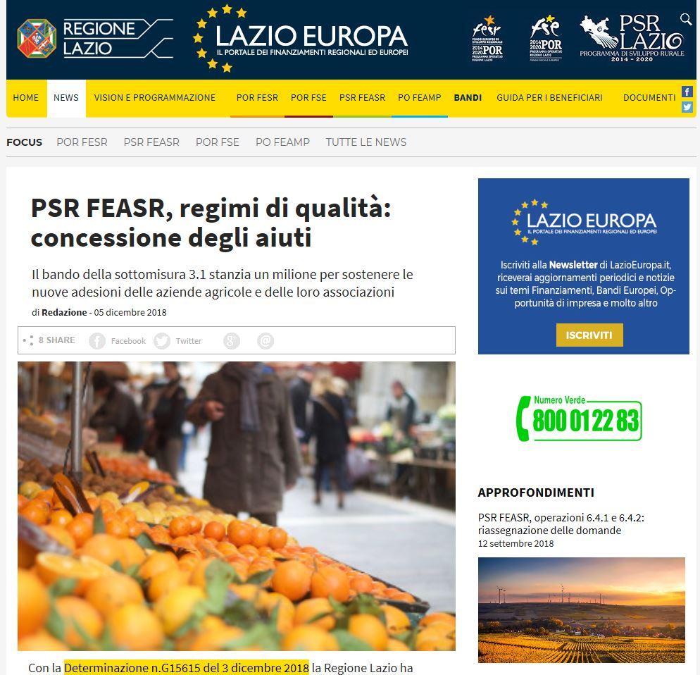 PSR FEASR, regimi di qualità: concessione degli aiuti