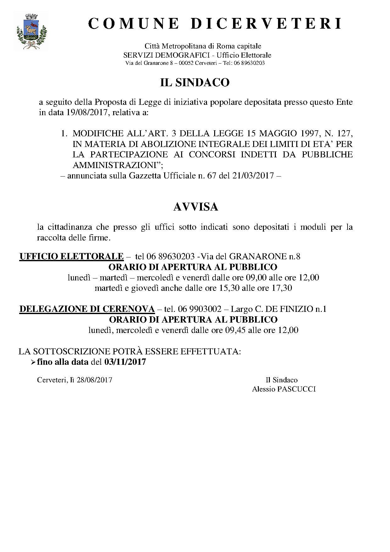 RACCOLTA FIRME N. 1 PROPOSTA DI LEGGE DI INIZIATIVA POPOLARE - COMITATO PROMOTORE NAZIONALE - SCADENZA 03/11/2017