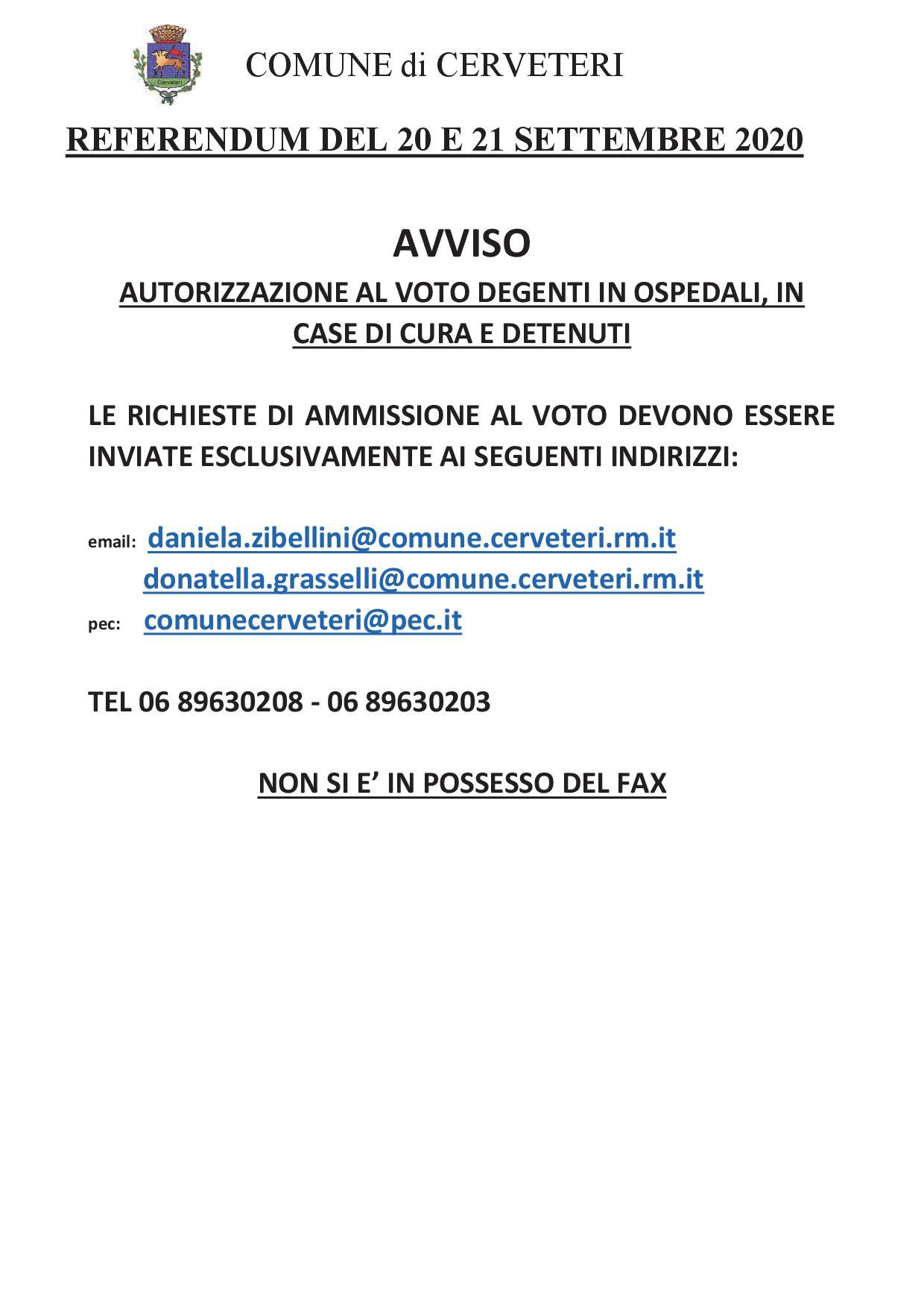 REFERENDUM COSTITUZIONALE DEL 20 E 21 SETTEMBRE  - AVVISO