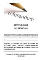 REFERENDUM COSTITUZIONALE DEL 29/03/2020 - AVVISO PER GLI ELETTORI TEMPORANEAMENTE RESIDENTI ALL'ESTERO