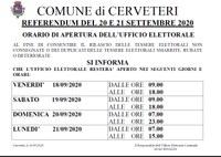 REFERENDUM DEL 20 E 21 SETTEMBRE 2020 - ORARIO DI APERTURA DELL'UFFICIO ELETTORALE