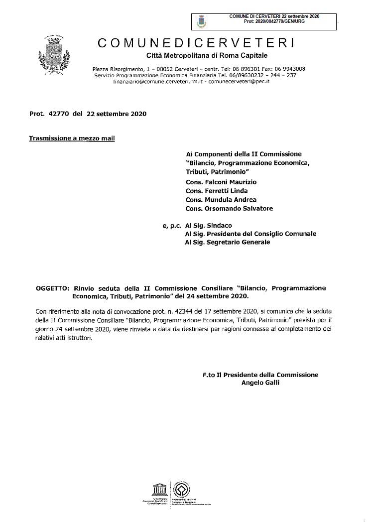 Rinvio Seduta della Commissione Bilancio del 24 settembre 2020