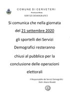 SERVIZI DEMOGRAFICI - sportelli chiusi al pubblico per la conclusione delle operazioni elettorali