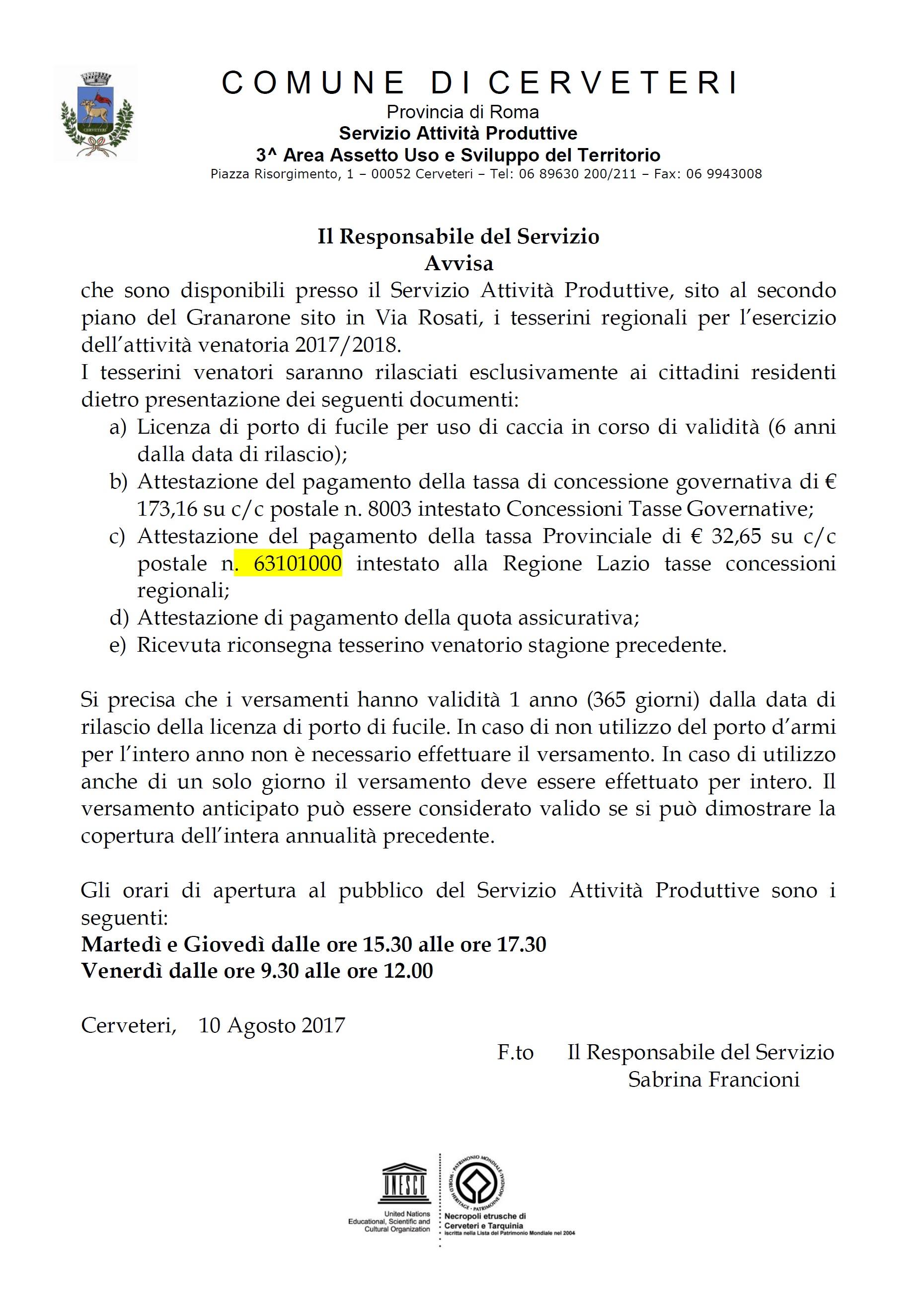 Servizio Attività Produttive: sono disponibili i TESSERINI REGIONALI per l' Attività Venatoria 2017/2018