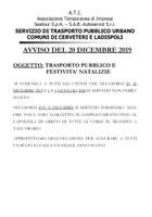 Servizio Trasporto Pubblico Urbano Comune Cerveteri Ladispoli : TRASPORTO PUBBLICO E FESTIVITA' NATALIZIE