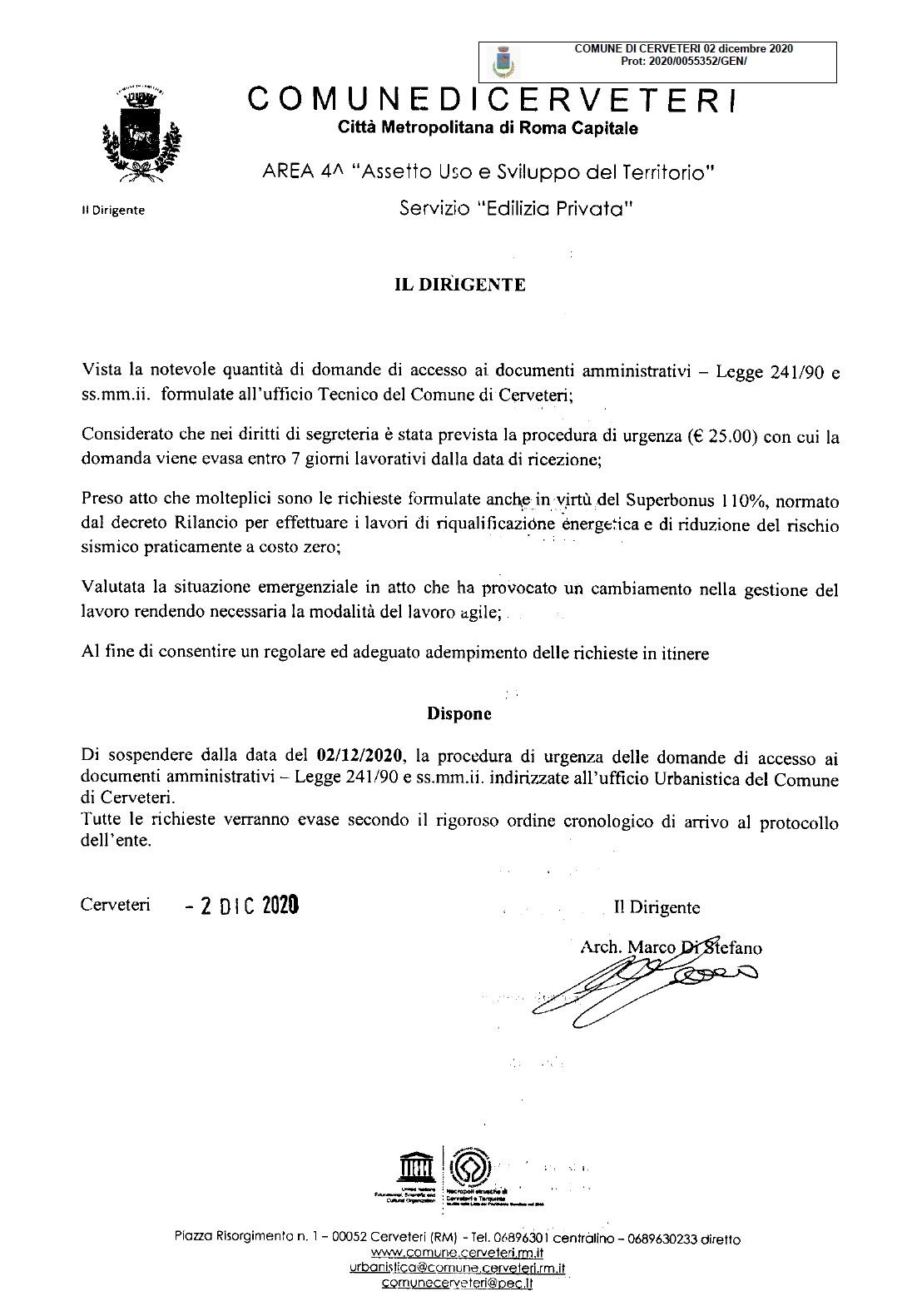 SERVIZIO URBANISTICA - Accesso ai documenti amministrativi