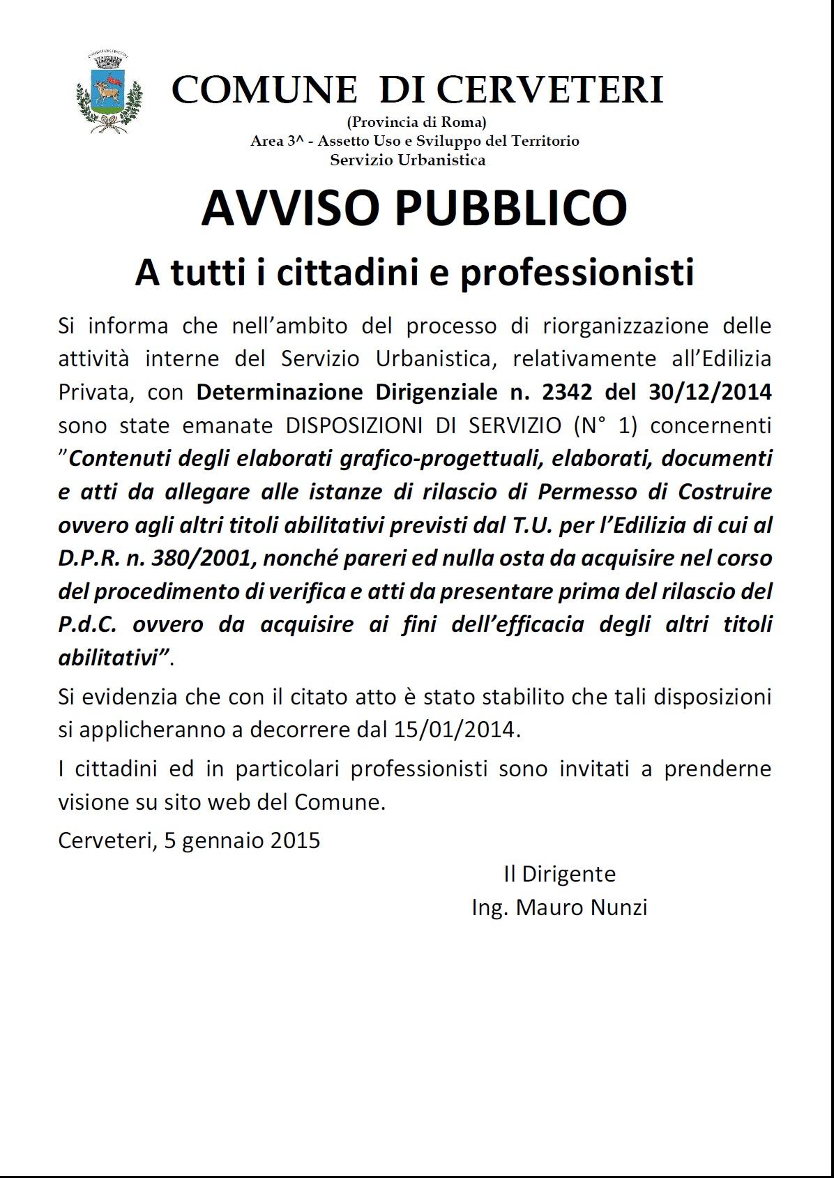 Servizio Urbanistica - AVVISO emanazione disposizioni di Servizio