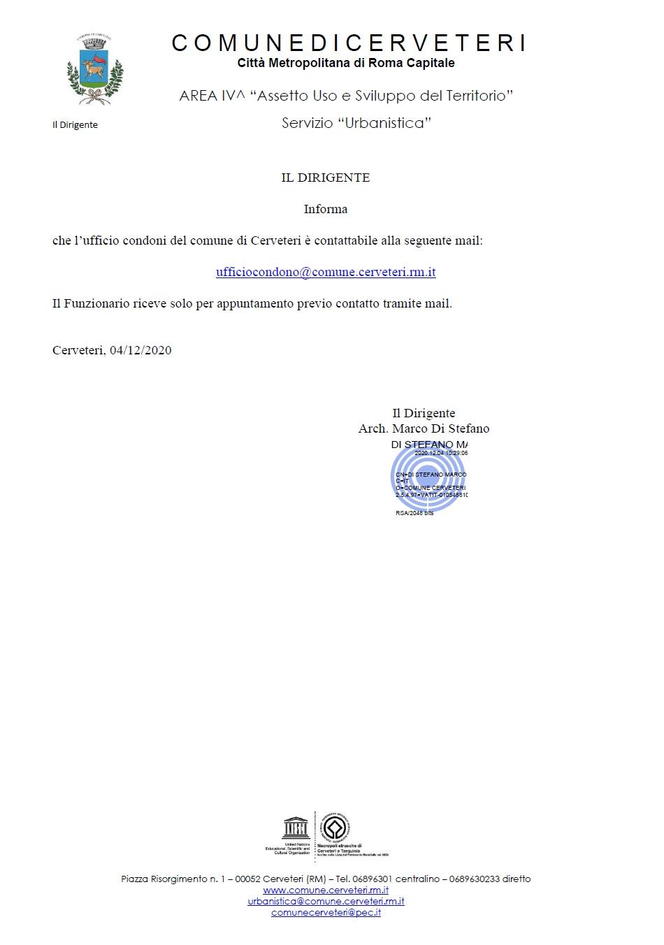 SERVIZIO URBANISTICA - UFFICIO CONDONI