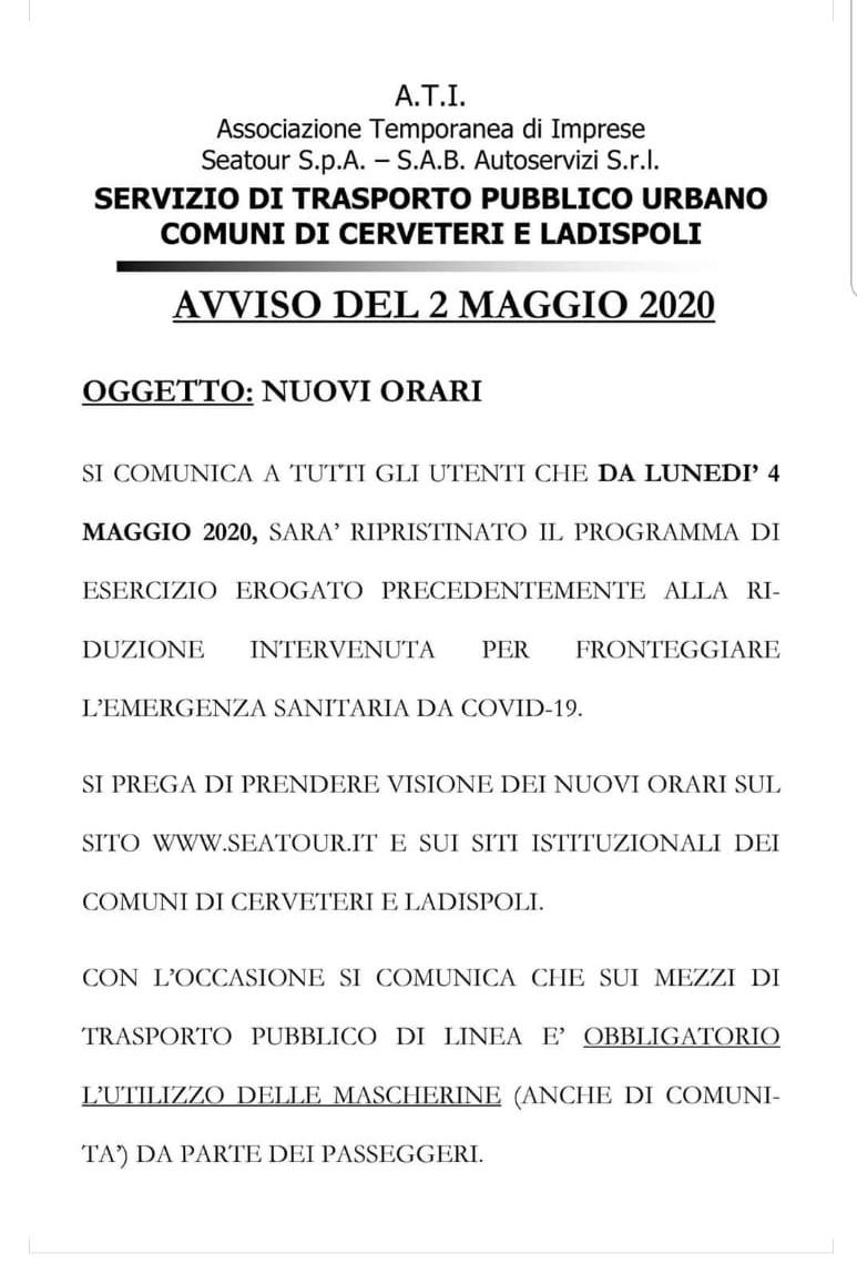 TRASPORTO PUBBLICO LOCALE - NUOVI ORARI DAL 04/05/2020