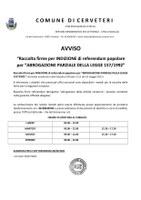 """Raccolta firme per INDIZIONE di referendum popolare per """"ABROGAZIONE PARZIALE DELLA LEGGE 157/1992"""