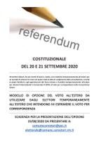 REFERENDUM COSTITUZIONALE DEL 20 E 21 SETTEMBRE - OPZIONE DEL VOTO ALL'ESTERO