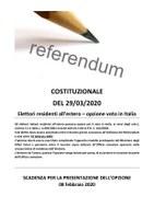 Referendum costituzionale del 29/03/2020 -  Elettori residenti all'estero - Opzione voto in Italia